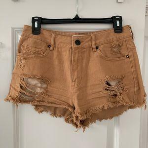 Bullhead Brown High Rise Cut Off Ripped Shorts